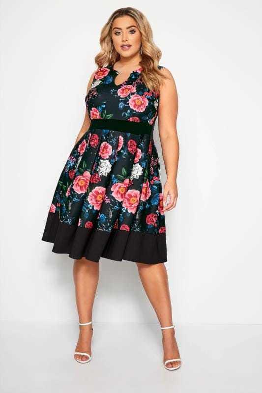vestidos-de-comunion-para-madres-vestido-negro-entallado-flores-rosas-yourclothing