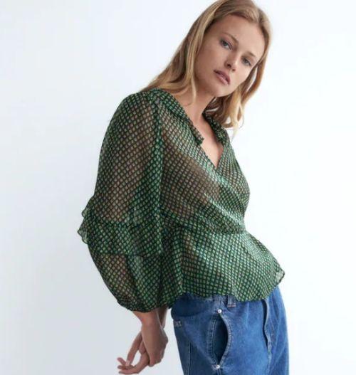 Blusa con estampado de hilo metalizado Zara Otoño Invierno 2020 - 21